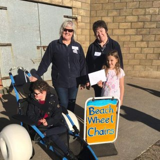 Outside The Bunker with the organisers of the Balmedie Beach Wheelchair project