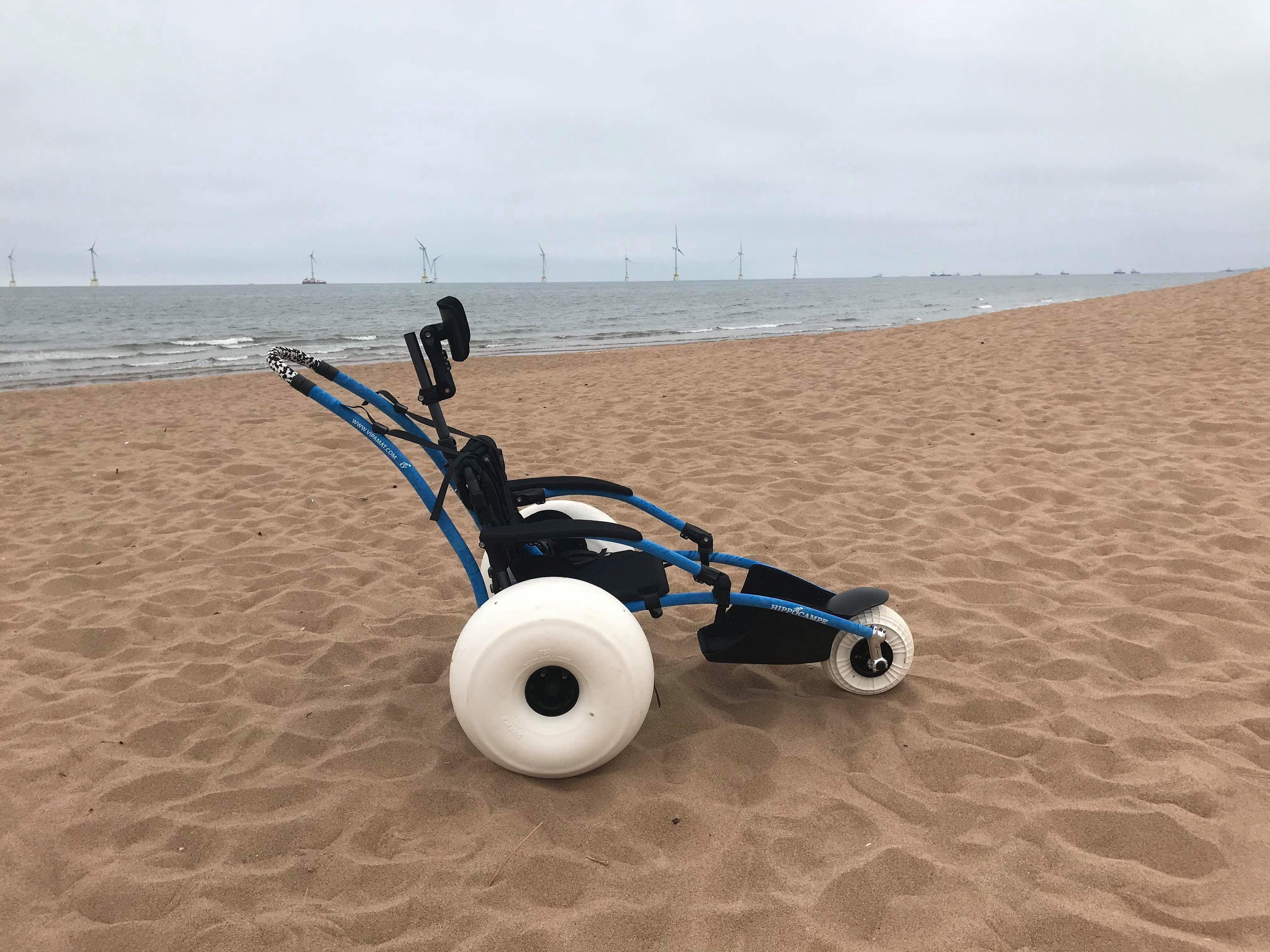Hippocampe buggy style wheelchair on the beach